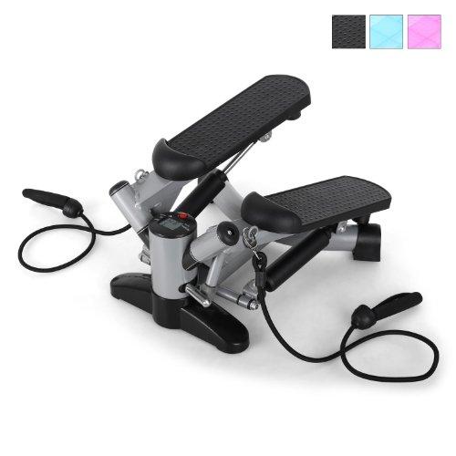 Klarfit Powersteps Máquina de step (stepper con 5 intensidades entrenamiento, ordenador digital quema calorias, 2 cintas para ejercicio de brazos, color negro/plata)