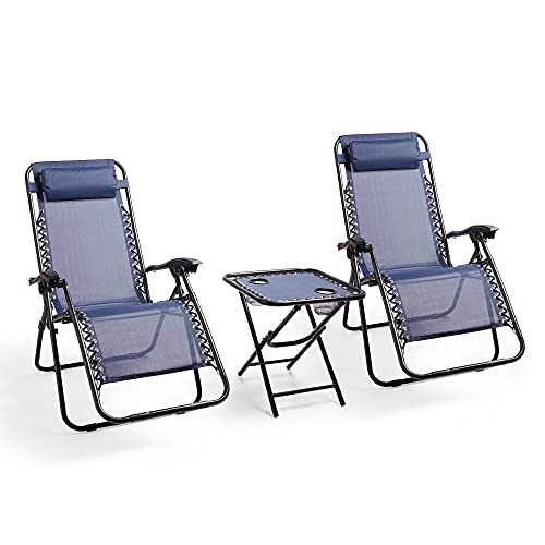 VonHaus Zero Gravity Chair and Table Set – Reclining Sun Lounger Folding Chairs – Cup Holders, Padded Headrests – Textoline, Steel Frame – Outdoor Garden Furniture for Patio, Decking, Balcony - Navy