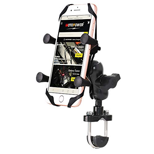 MOTOPOWER MP0618 Supporto per telefono cellulare per moto da strada di montagna universale per bicicletta da moto per telefoni cellulari, GPS o fotocamera sportiva