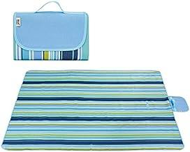 Waterproof Foldable Outdoor Camping Mat Widen Picnic Mat Plaid Beach Blanket Baby Multiplayer Tourist Mat-Blue Stripes