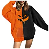 NHNKB Sudadera con capucha para mujer, disfraz de Halloween, bicolor, con capucha, para otoño e invierno, N negro., L