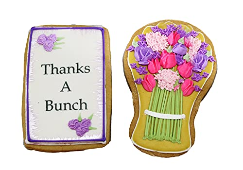 Gourmet Floral Thank you Cookie Gift Basket | 2 Large 2.5 x 4.5 in Vanilla Sugar Cookies Hand-Decorated Snack Variety Pack | Kosher Bakery Care Package For Women, Men Boys & Girls | Prime Delivery