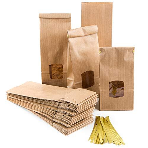 Logbuch-Verlag 25 große Blockbodenbeutel braun mit Fenster + Clips + Folieneinlage Papiertüten lebensmittelecht Papierbeutel m. Boden 10 x 6,5 x 27,5 cm Verpackung