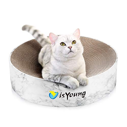 isYoung Rascador para Gatos Carton Corrugado, Alfombra Rascador Redondo para Gatos de Interior, Salón y Afilador Uñas para Gatos Pequeños y Medianos