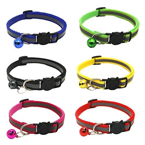 Mengdie 6 collares reflectantes para perro y gato con campana de liberación rápida, hebilla en forma de gato, longitud ajustable para perros pequeños y medianos
