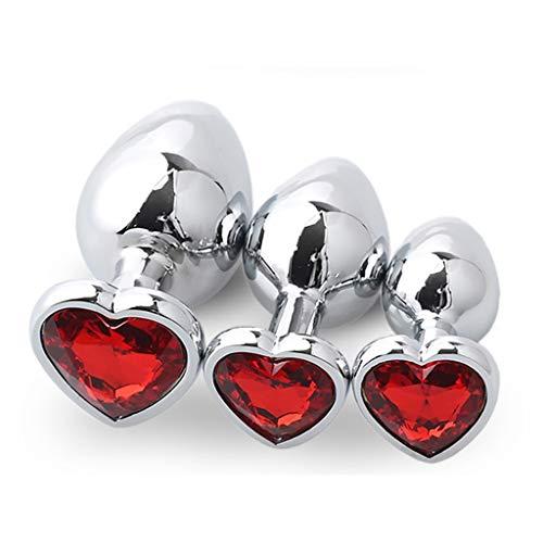 3 Pcs/Set Luxury Red Heart-Shaped Crystal Diamond Gem Jeweled Design Metal Ànâles Pl'ugs Trainer Kit - Stainless Steel Bûtt Pl'ugs Beads Massage Toys