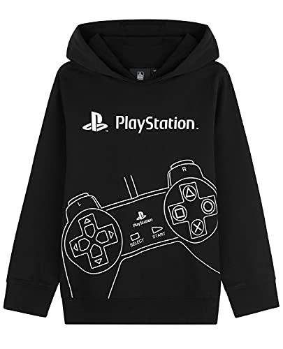 Playstation Felpe con Cappuccio per Ragazzi, Felpa Bambino in Cotone 7-15 Anni, Regalo per Gamers (13-14 Anni, Nero)