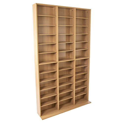 Atlantic Oskar Adjustable Media Cabinet - Holds 1080 CDs, 504 DVDs or 576 Blu-Rays/Games, 30 Adjustable and 6 Fixed Shelves PN38435715 in Maple