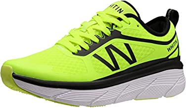 WHITIN Men's Cushioned Running Fitness Workout Shoes Sports Jogging for Male Athletic Gym Size 9.5 Breathable Lightweight Road Oversized Midsole Platform Sneakers Indoor Cross Training Walking Green 43
