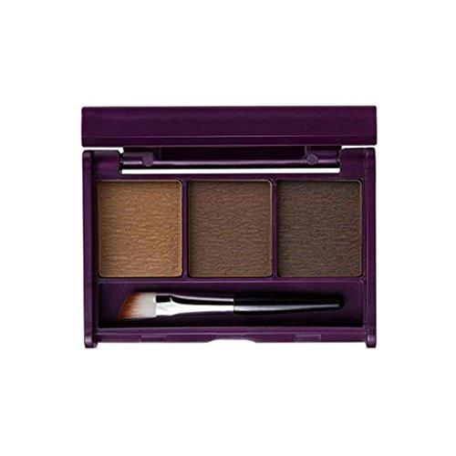 Elenxs Nueva Menow Menow 3 Color de la ceja Pigmento en Polvo con Cepillo de Cejas Maquillaje Resistente al Agua Tres Dimensiones cosméticos Paleta E414-02