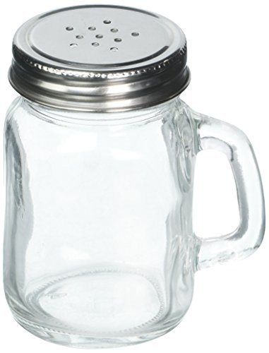 Tablecraft Small Glass Mason Shaker with Metal Lid, 5-Ounce, Clear