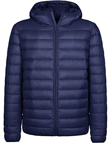 Wantdo Men's Packable Light Weight Down Jacket Winter Puffer Coat Navy Large