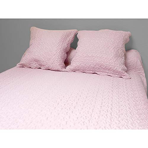 Soleil d'ocre 373004 Tagesdecke Uni rosa 220x240 cm + 2 Kissenbezüge