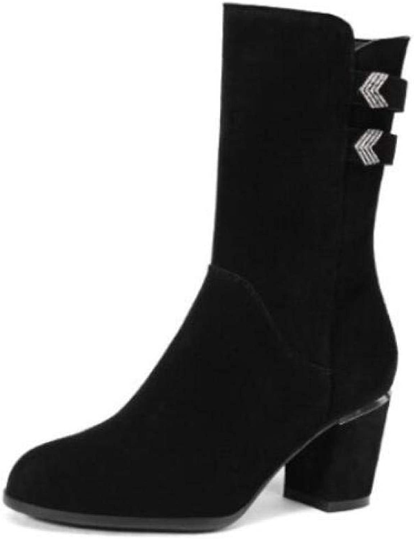 Kvinnor mocka Knee stövlar Winter Winter Winter Warm läder stövlar hög klack Metal Buckle Knight stövlar storlek 34 -42  reklamartiklar