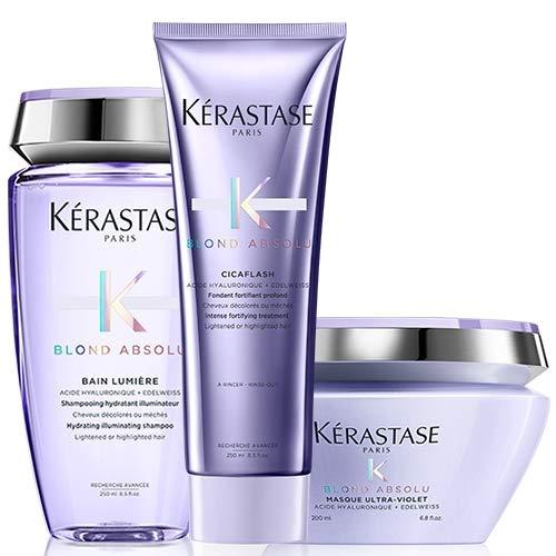 Kérastase Blond Absolu Bain Lumiere 250ml, Balsamo Cicaflash 250ml & Masque Ultra-Violet 200ml Pack