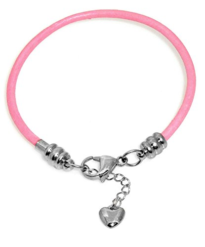 Pink Leather Charm Bracelet for Women, Fits European Charms, Steel Lobster Claw Clasp, 7.5 Inch
