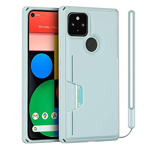 JWS-C for Google Pixel 5 Wallet Case, Slim Protective Kickstand Case with Credit Cards Holder and Wrist Strap for Google Pixel 5 - Light Blue