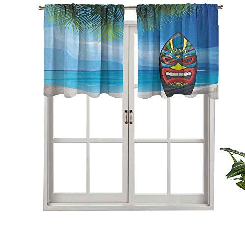 Hiiiman Cortinas cortas, con bolsillo para barra, diseño de máscara Tiki Warrior, tabla de surf en paisaje abstracto de playa, juego de 1, 132 x 45 cm para baño y cocina