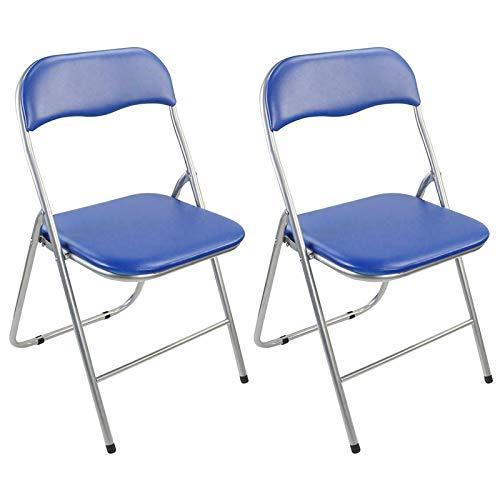 Guilty Gadgets - Juego de 2 sillas plegables acolchadas de metal plateado y PVC, apilables, para exteriores, picnic, jardín, color azul