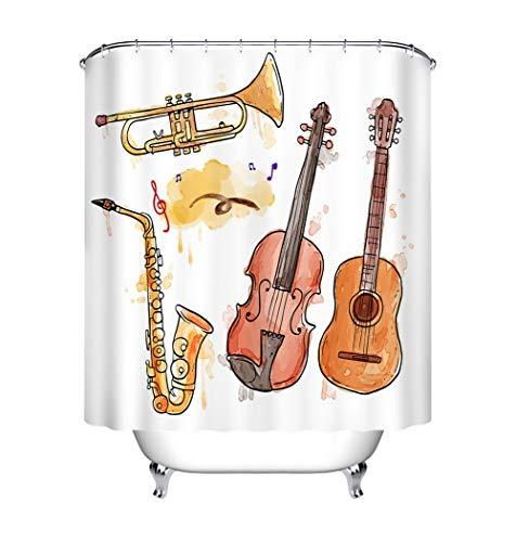 ZZZdz viool, gitaar, saxofoon. Douchegordijn. 180 x 180 cm. 12 vrije haken. Waterdicht. Eenvoudig te reinigen. Accessoires voor de badkamer.
