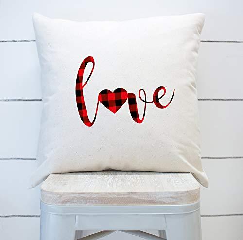 Funda de almohada con diseño de búfalo rojo a cuadros, para el día de San Valentín, decoración del día