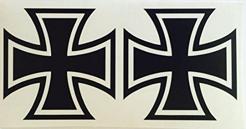 Schönheits Shop 2X Eiserne Kreuz schwarz Iron Cross Sticker Dapper Auto Aufkleber Tuning Oldschool Rat
