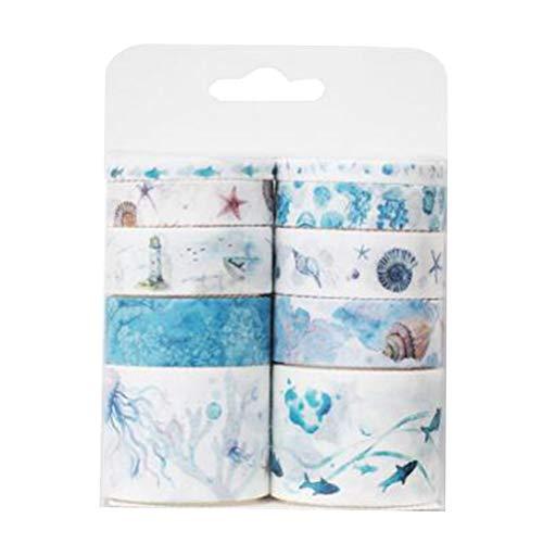 10pcs / pack Washi Cintas adhesivas de dibujos animados pegatinas decorativas cintas de papel pegajoso para el envoltorio de regalo (cuento de hadas mar profundo)