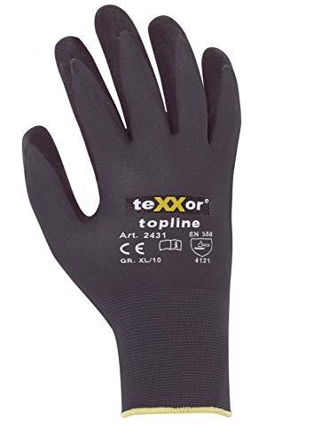 teXXor Nylon-Strickhandschuhe mit Nitrilbeschichtung, Größe 9, 12 Paar