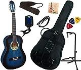 Pack Guitare Classique 3/4 (8-13ans) Pour Enfant Avec 7 Accessoires (bleu)