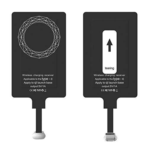 Receptor Qi Tipo C, Receptor Qi de Carga inalámbrica, Receptor de Cargador de inducción USB C para Dispositivos Huawei P30   P20   Nova, Sony XZ1, LG G5, Pixel, HTC 10 Android Phone Type C