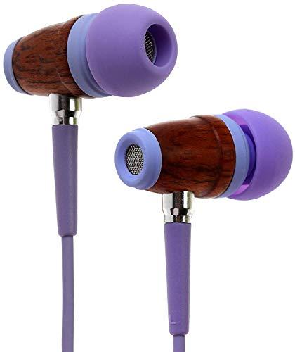 Symphonized Kinder Premium Ohrhörer Lautstärkereguliert Aus Holz Mit Mikrofon Kopfhörer Echtholz (Lavendel)