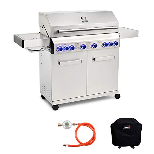 TAINO Platinum 6+2 Gasgrill Set Edelstahl Backburner Sear-Burner Power-Zone Keramik-Brenner Abdeckhaube Gasregler Griller Gusseisen Seitenkocher Piezozündung
