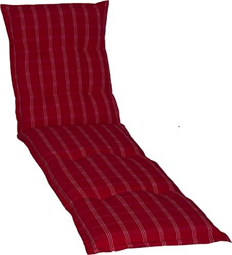 Beo Sonnenliege Auflage Waschbar Ascot | Made in EU Premium Plus Qualität | UV-beständige Liegestuhl Auflage mit herausnehmbarer Füllung | Atmungsaktive Auflage Gartenliege in Rot-Grün Kariert