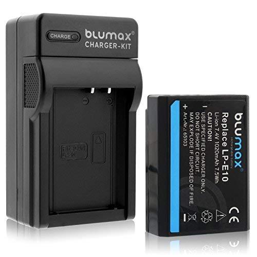 Blumax Akku LP-E10 / 1020mAh + Ladegerät LPE10 / LC-E10e | passend zu Canon EOS 1100D 1200D 1300D | EOS Rebel T3-T5-T6 -
