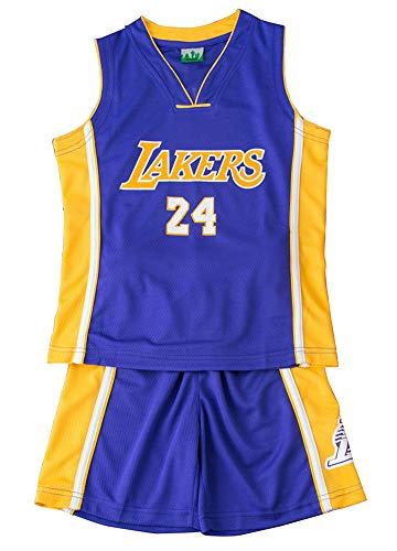 MYXUAA Basketball Trikots Lakers # 24 Kobe Bryant Los Angeles Kinder Trikots Set, Shorts für Jungen und Mädchen Fan Shirt Vest Sleeveless Sportwear-Blue-XXL(160-165CM)