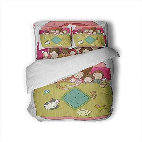 Set with Family Sleeping in Bed.Cartoon Mom,Size Sheets Dad and Babies.Sweet Dreams.Good Night.Bed Linen.Funny Pets.Illustration for Pajamas.Happy Children. Belarus Sheets Size Twin Size