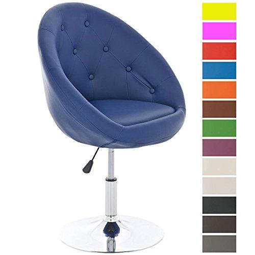 CLP Lounge-Drehsessel London mit hochwertiger Polsterung und Kunstlederbezug | Höhenverstellbarer Clubsessel erhältlich Blau