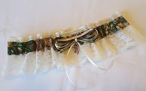 Pink Camo Garter Sewn in USA Deer Buck Head Charm Organza Ribbon Ladies Mossy Oak New Break Up OSFM S-XL For Camouflage Prom Wedding