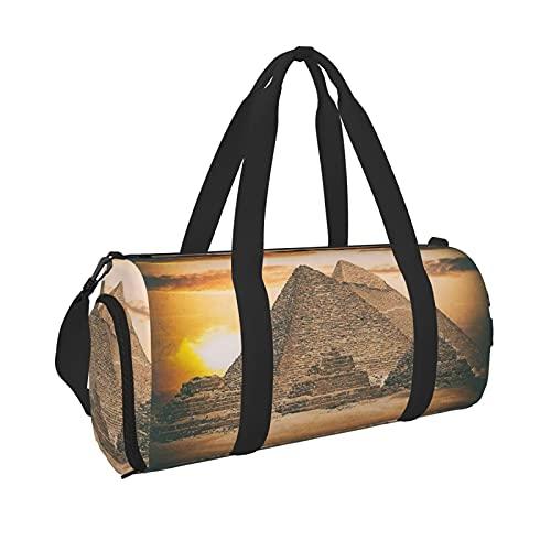 Grande borsa sportiva piramide egiziana con tasca bagnata e scomparto per scarpe, borsa da viaggio per uomini e donne, Nero , Taglia unica,