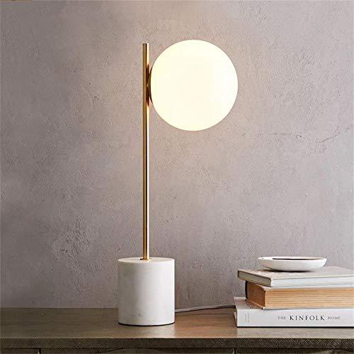 The only Good Quality Decoratie, eenvoudig, modern glas, basis van marmer, wit, frosteerd, Scandinavisch, ronde lampenkap, 15 x 58 cm