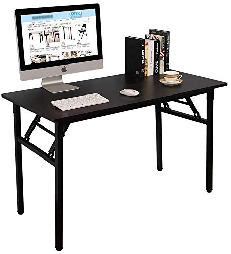 Folding Table Computer Desk, No Assembly Required, Sturdy and Heavy Duty Writing Desk for Small Spaces (Black)