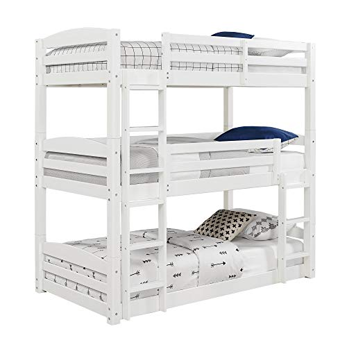 Dorel Living Sierra Twin Triple Bunk Bed in White