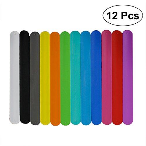 Toyvian 12 stücke Silikon Slap Armbänder Party Favor Party Handschlaufe für Geburtstag Party Geschenk (Zufällige Farbe)