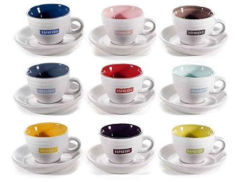 Set mit 9 Espressotassen 70 ml. Set mit 9 Tassen aus zweifarbigem Keramik mit Schriftzug
