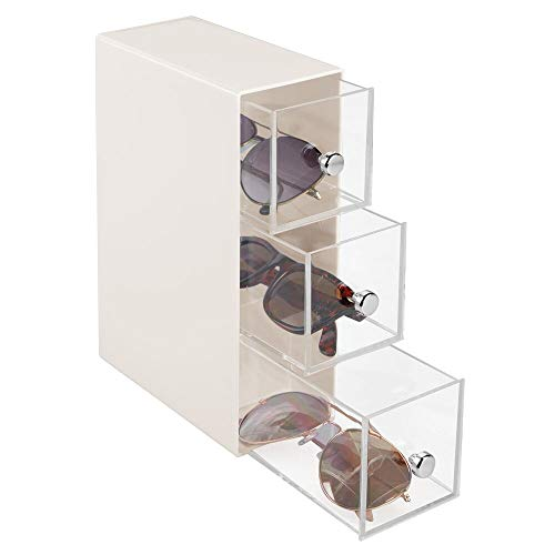 mDesign Mini cassettiera da scrivania – 3 cassetti scrivania in plastica – Pratica Mini cassettiera da scrivania Perfetta Come Porta Occhiali – Crema/Trasparente