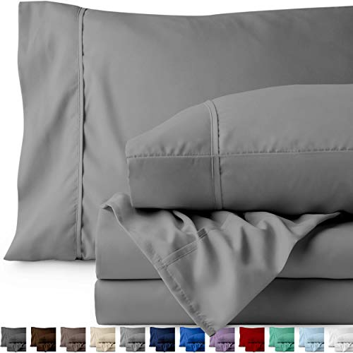 Bare Home 4 Piece 1800 Collection Deep Pocket Bed Sheet Set - Twin Extra Long - Ultra-Soft Hypoallergenic - 1 Extra Pillow Case (Twin XL, Light Grey)