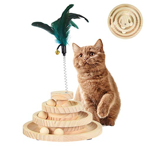 NEKOU 猫 おもちゃ 回転ボール おもちゃ 木製 3層 遊び盤 ぐるぐるボール 円盤 おもちゃ 色ランダム 天然 羽つき 鈴 猫じゃらし付き 運動不足 ストレス解消 知育玩具 (三層円盤)