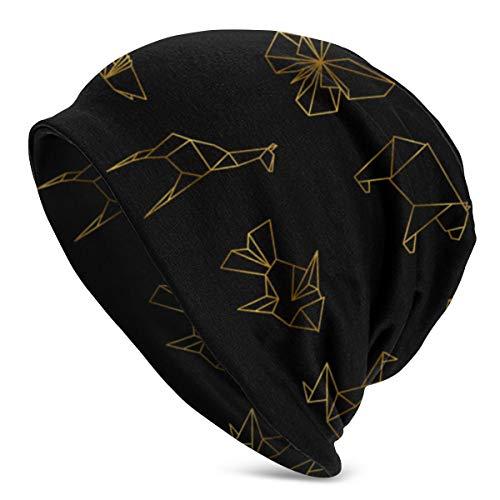 Dorado Origami japonés Papel Animales Línea Vector de imagen0 Clásico Hombre Cálido Sombreros de invierno Puño de punto acrílico Gorro Gorro Gorro diario