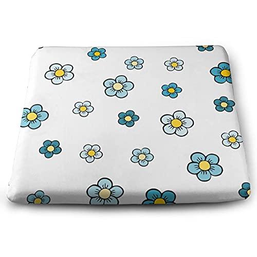 NMTUHAO Cojín cuadrado de flores azules,Cojinetes, Espuma para cojines,Cojín de espuma de memoria de asiento,Cojín de poliéster