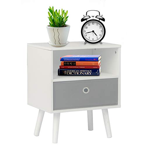 DSDecor Nightstand Rectangle Wooden End Table with Drawer and Storage Shelf Modern Bedside Table Sofa Side Table for Bedroom Living Room Small Space